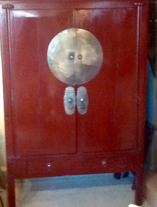 1920's Red Lacquered Cabinet