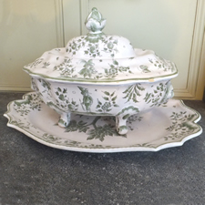 Antique French Green and White Soup Tureen