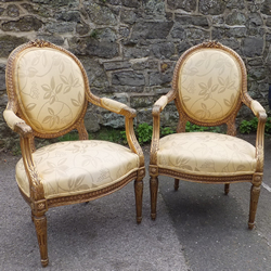 Antiques French Oval Backed Chairs - Pair