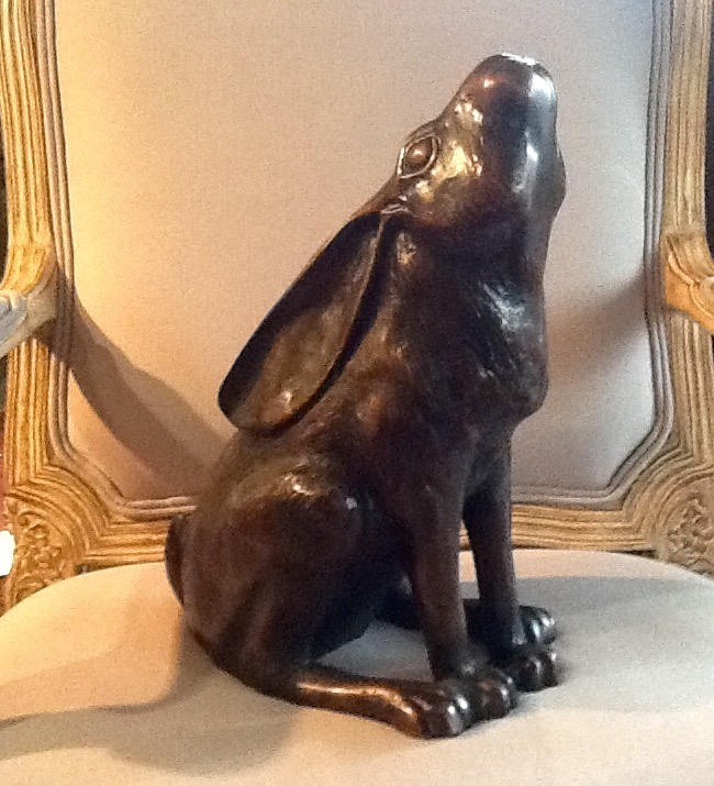 Bronze Figure of Hare - Moon Gazing