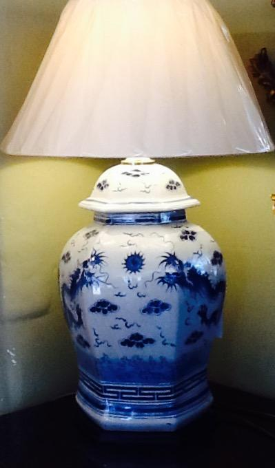 Large Blue and White Lamp