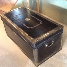 Black Leather Trunk with Brass Banding