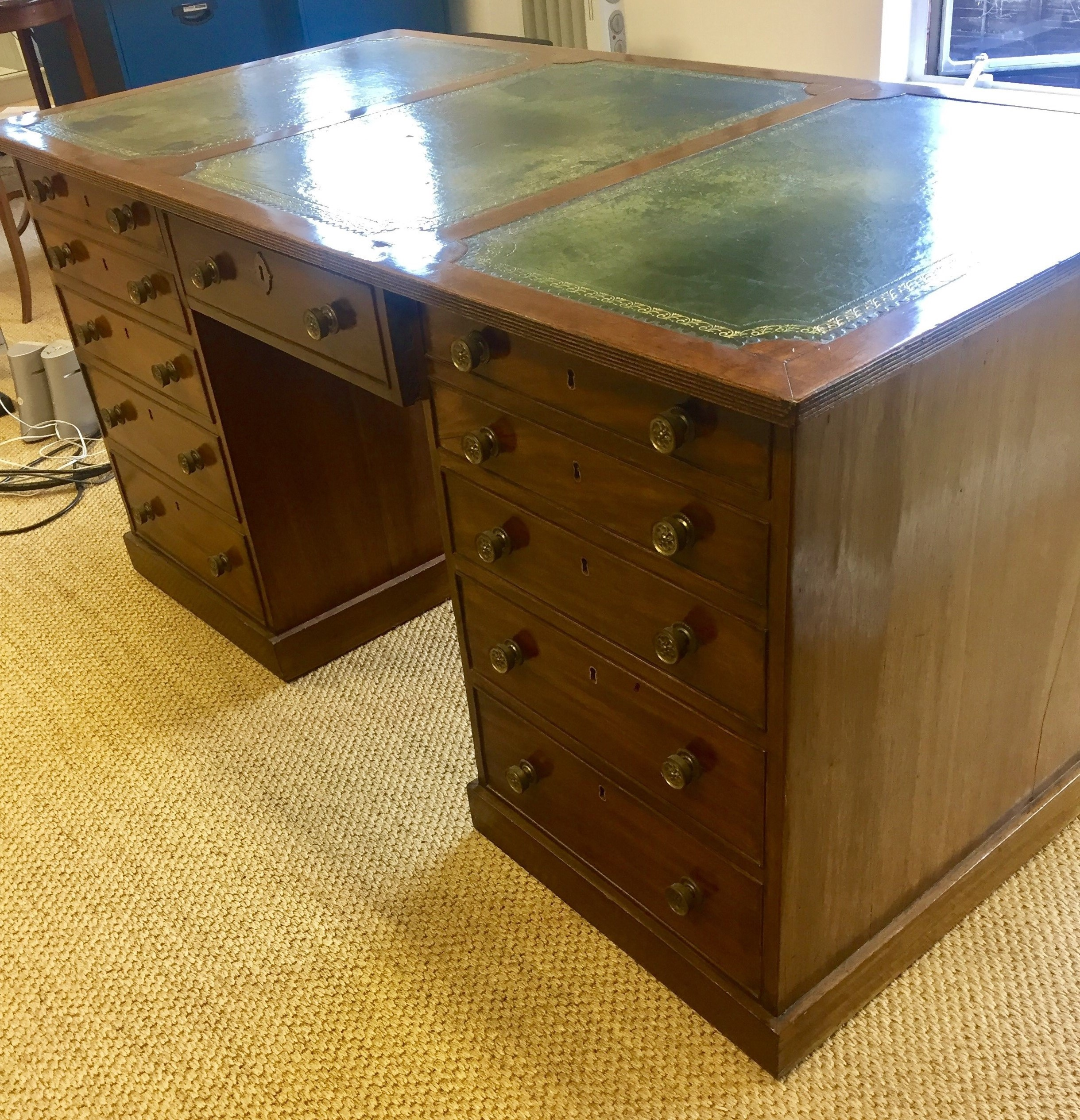 mahogany desk by antique handkrafted andrew partners aalstin alstin