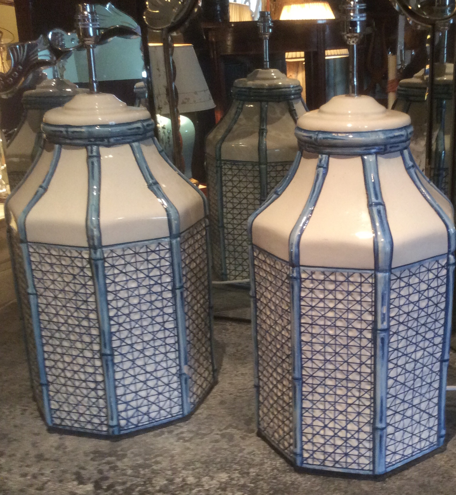 Pair Blue & White Table Lamps