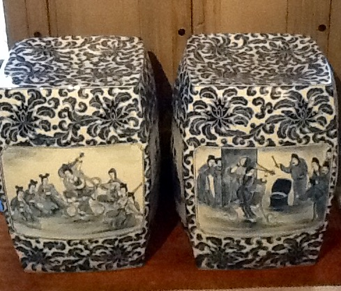 Pair Chinese Blue & White Garden Seats