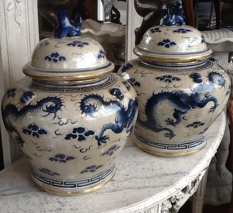 Pair Chinese Blue & White Temple Jars