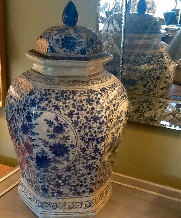 Pair Large Chinese Blue & White Temple Jars