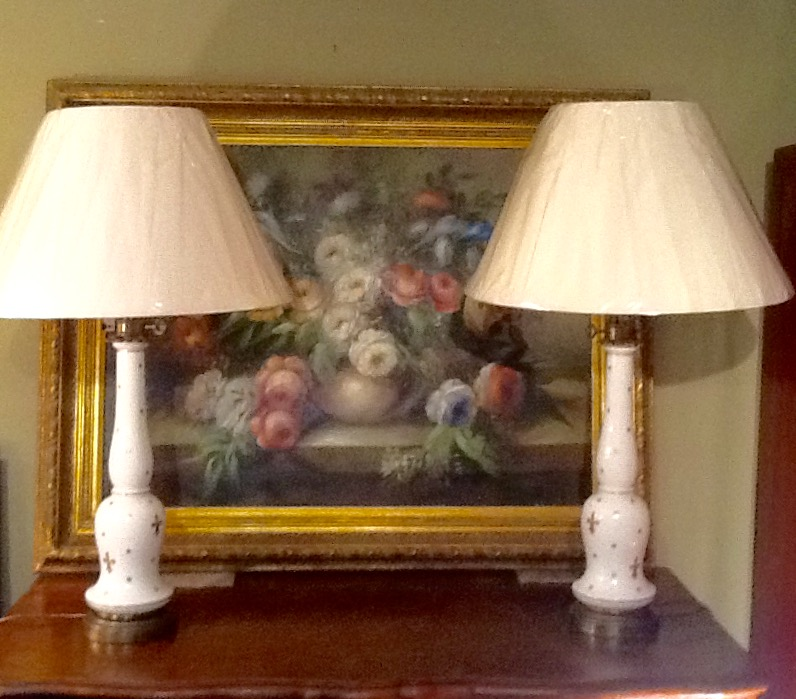 Pair of 19c Opaque Glass Lamps