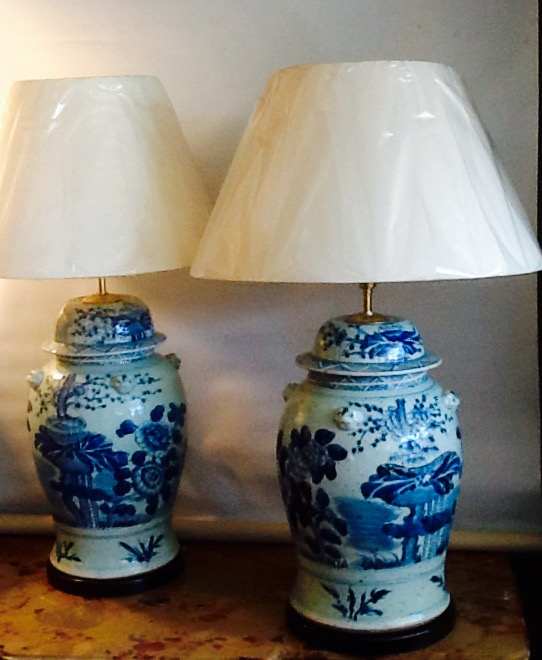 Pair of Blue & White Chinese Lamps