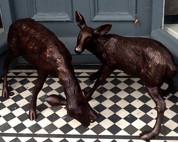 Pair of Bronze Baby Deer