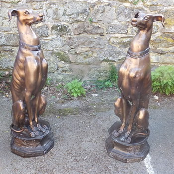 Pair of Bronze Whippets