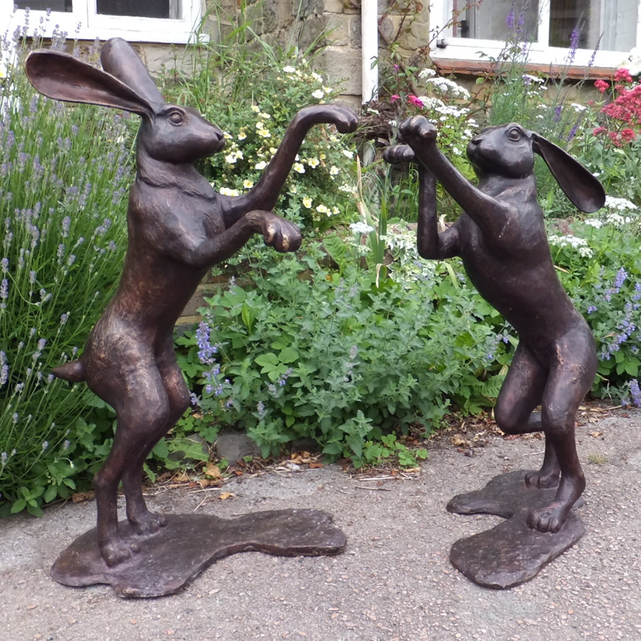 Pair of Bronze Hares - Boxing | Antique Bronze Statues and ...