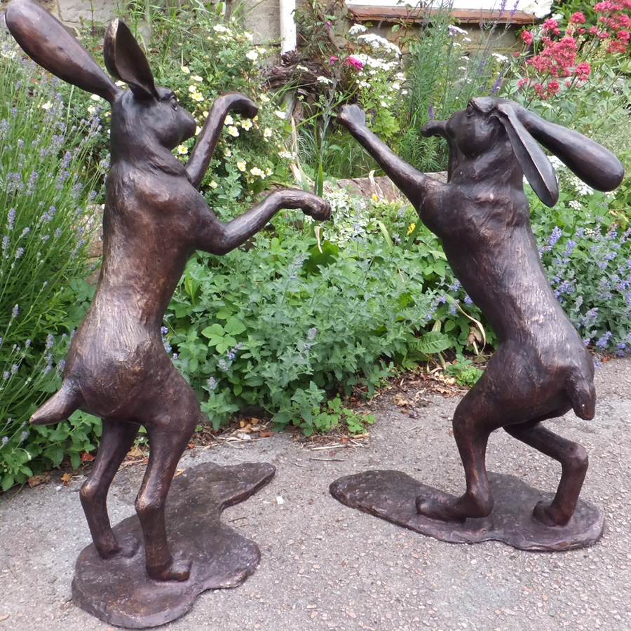 Pair Of Bronze Hares Boxing Antique Bronze Statues And