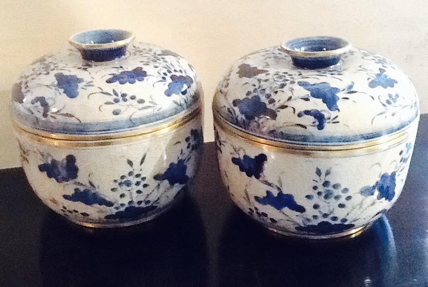 Pair of Chinese Blue & White Rice Pots