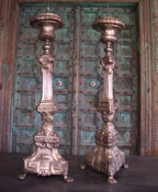 Pair of French Silvered Candle Sticks