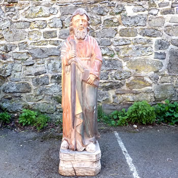 Wooden Statue of a Religious Figure
